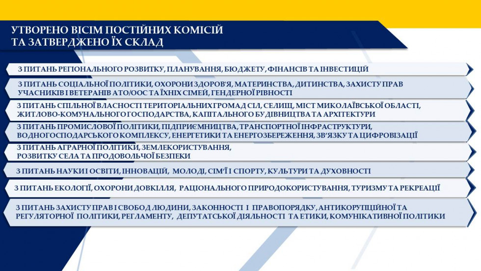 Постійні комісії обласної ради восьмого скликання